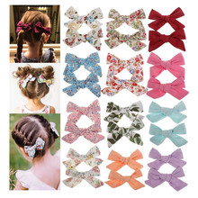 ncmama 2Pcs/lot Cotton Hair Bows for Baby Girls Clips Bohemian Style Solid/Printed Bowknot Hairpins Party Accessories
