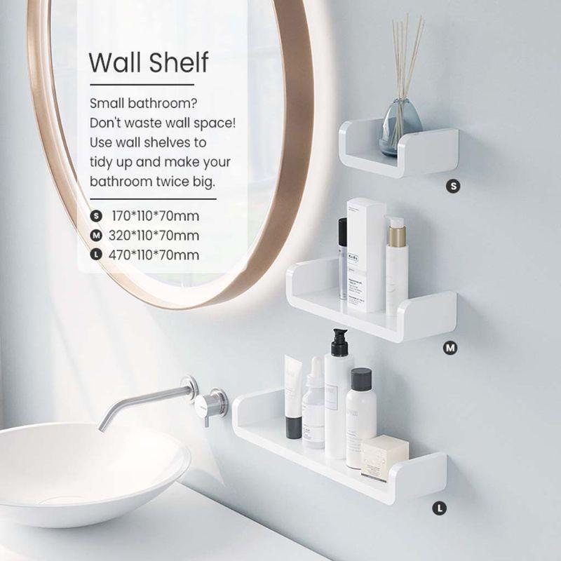 U Shape Wall Shelf Suction Floating Corner Shower Shelf Bathroom Shampoo Shower Shelf Holder Kitchen Storage Rack Organizer
