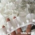 4 CM Breit Weiß 3D Plissee Chiffon Elastische Spitze Pompom Rüschen Trim Band Kleid Kleidung Headwear DIY Nähen Guipure Liefert