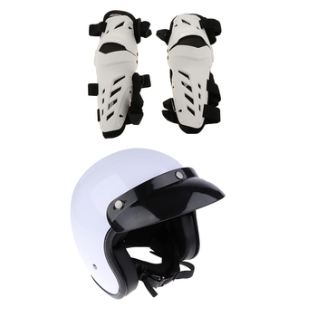 Gloss White Motocross Motorcycle Adjustable Size Half Helmet with Clear Glass Visor Sun Shield + 1 Pair Knee Guards Protection