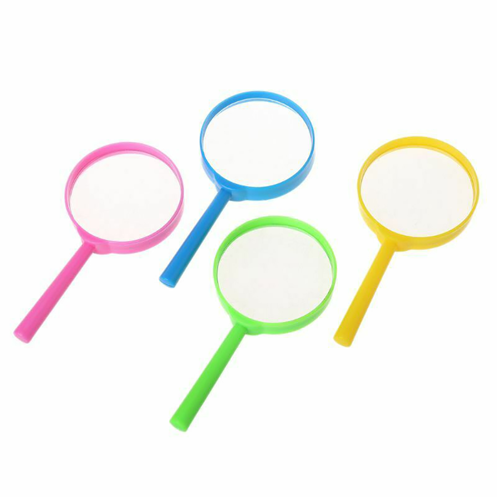 Portable Handheld Color Plastic  Straight Handel Acrylic Magnifying Glass Student Children Classroom Outdoor Educational Toys