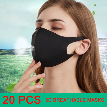 100-20pcs Unisex Anti Dust Face Mouth Cover PM2.5 Mask Respirator - Dustproof Anti Bacterial Washable - Reusable Comfy Masks