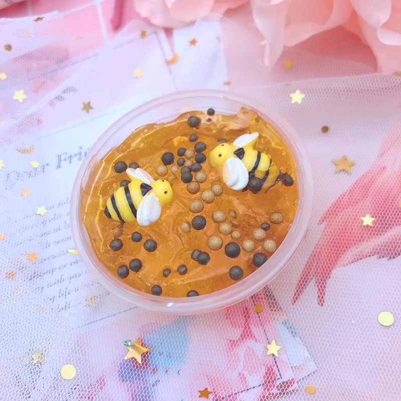 Brinquedo slime de cristal para abelha, brinquedo feito de massinha, folha de polímero, 1 peça lama do estresse para crianças