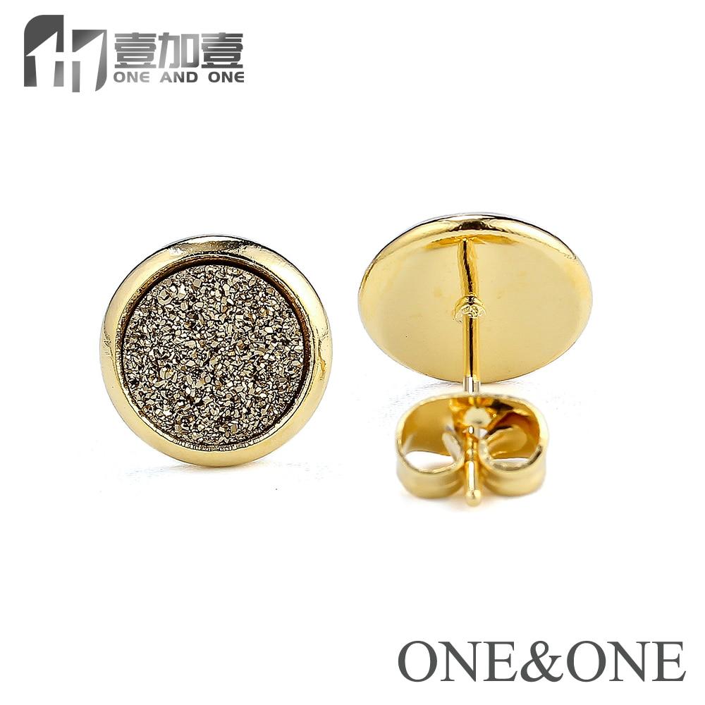 EYIKA Mode Øreringe i rustfrit stål Runde 8mm Kobberfarve Naturlige - Mode smykker