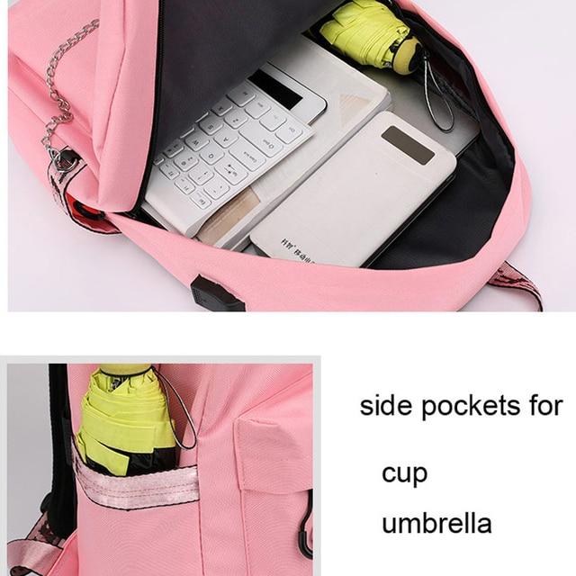 Winmax Luminous USB Charge Women Backpack Fashion Letters Print School Bag Teenager Girls Ribbons Backpack Mochila Sac A Dos 3
