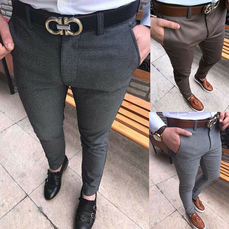 Fashion Men's Slim Fit Skinny Pencil Pants Business Formal Suit Dress Casual Trousers Size S-XXL