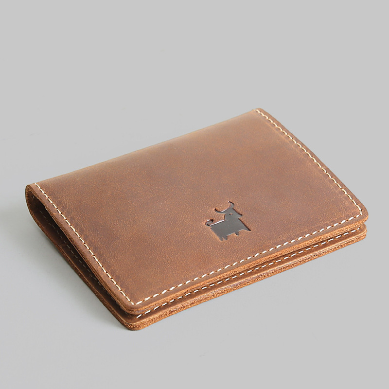 Genuine Leather Credit Card Holder Vintage Handmade Wallet For Cards Mini Cow Leather Purse Designer Card Case