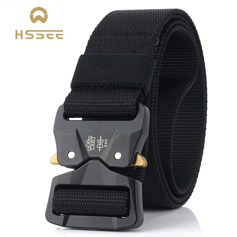 HSSEE 2020 New Tactical Belt Hard Metal Quick Release Buckle Military Army Men Belt Soft Genuine Nylon Sports Belt Dropshipping