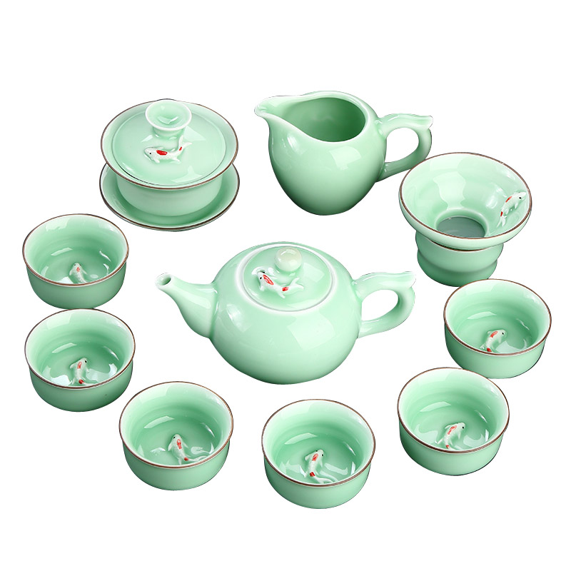 Originality Chinese Kung Fu Ceramic Tea Set Household Water Cup 6 Mini Cup Green Home Office Tea Ceremony Set Ritual Gift MM60CJ