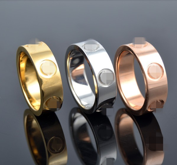 Classic stainless steel Screw rings 6mm gold rose silver filled love wedding Ring
