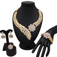 Dubai Jewelry Sets for Women African Leaf Zircon Ensemble Necklace Earring Set