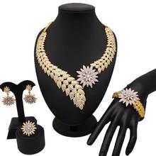 Dubaj biżuteria zestawy dla kobiet afryki liść cyrkon zespół naszyjnik zestaw kolczyków
