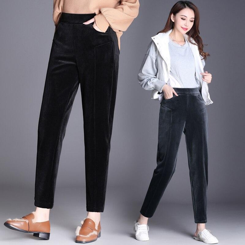 High Waist Corduroy Harem Pants For Women 2019 Winter Warm Fleece Thick Loose Womens Trousers Female Pants Plus Size 5XL 6XL