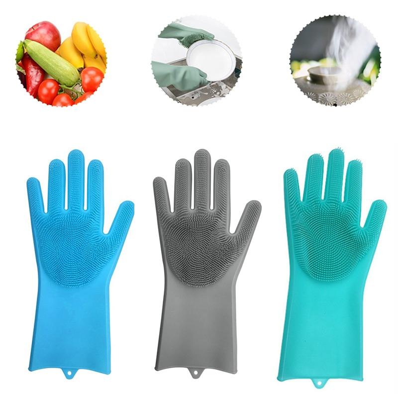 Cleaning Brush Magic Silicone Gloves Scrubber Gloves Durable 1PC Multipurpose Dish Washing Pet Bathing