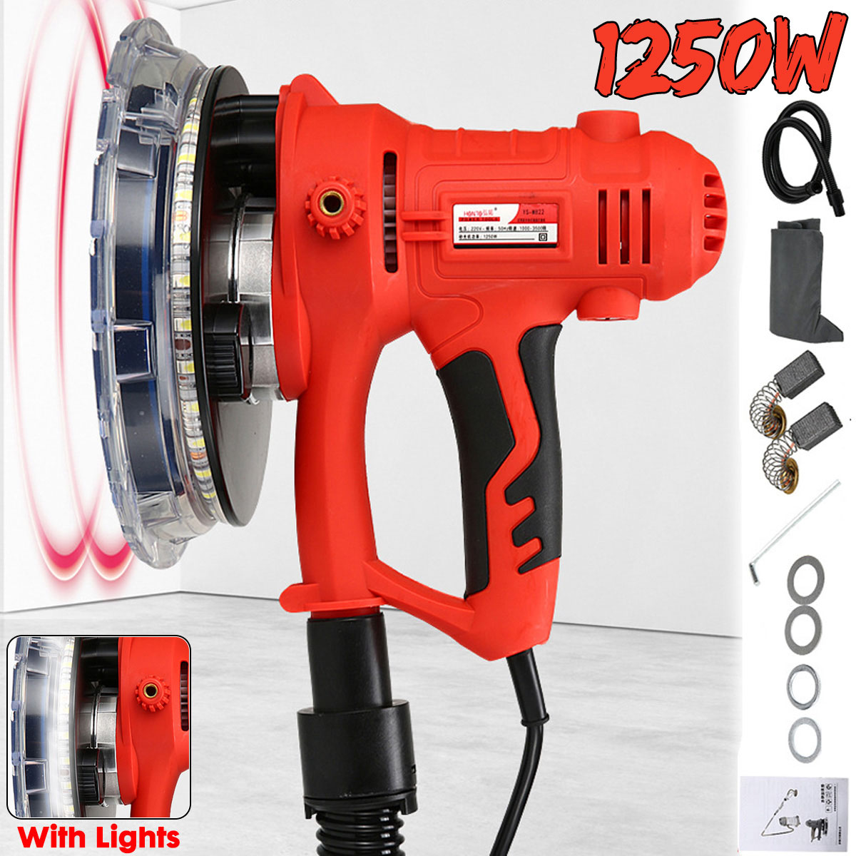 Doersupp Drywall Sander Wall Polishing Machine Grinding 220V 1350W Portable Led Light 1000-3000R min Wall Putty Polisher Machine