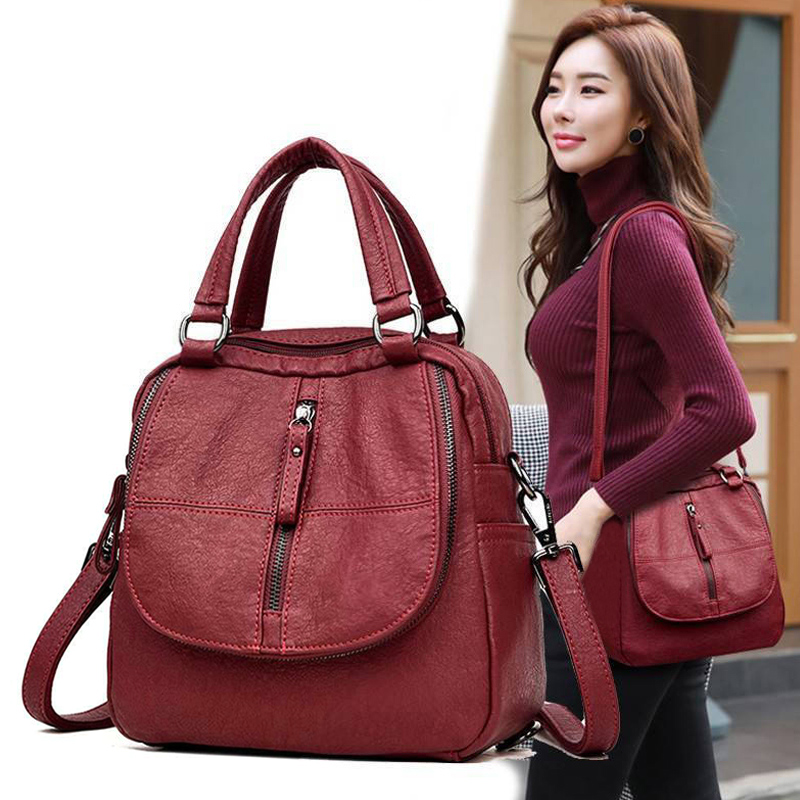 PU Leather Women's Fashion Multipurpose Backpack Shoulder Bag Zipper For Mobile Phone Keys Travel Backpack Bags  Small Backpack
