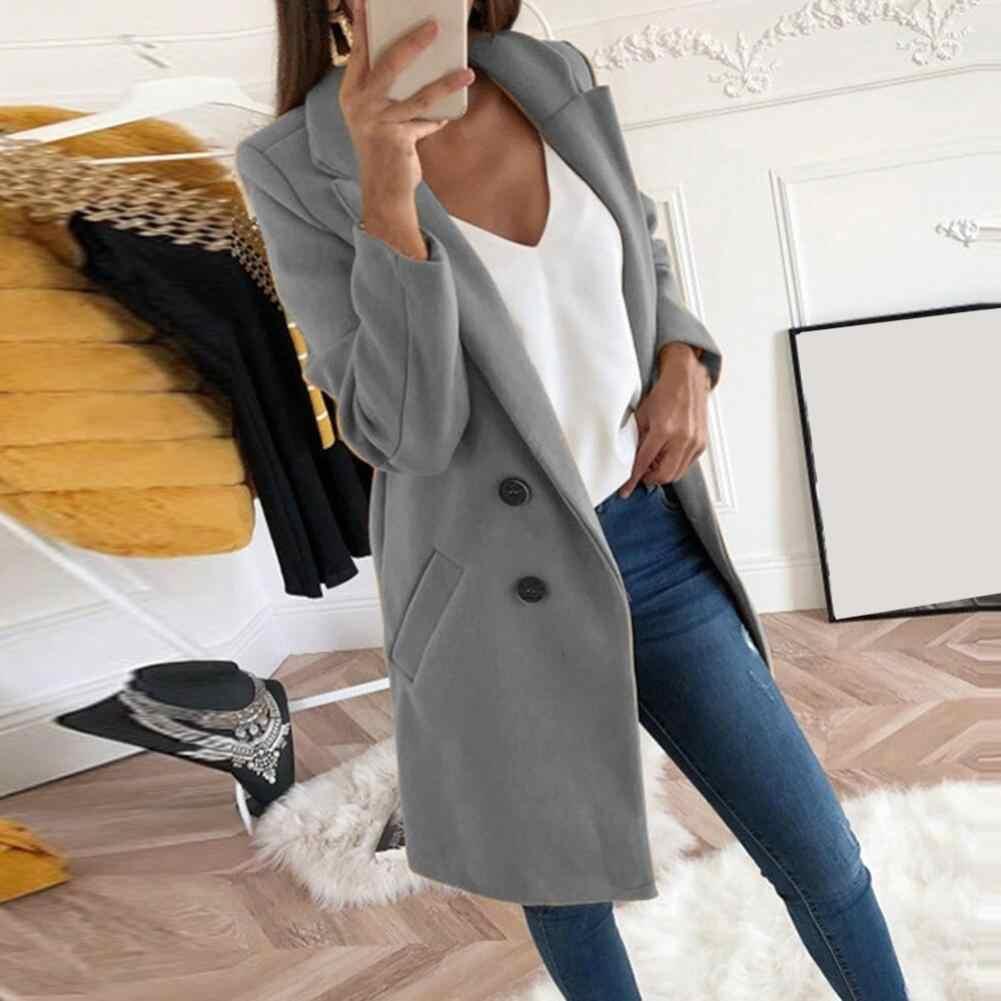 2019 Mode Plus Size Vrouwen Wollen Jas Herfst Casual Jas Vrouwelijke Kantoor Dame Solid Lange Style Turn-down Kraag jas