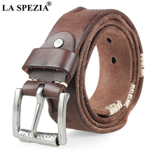 LA SPEZIA Genuine Leather Belt Male Italy Cowskin Men Black Coffee Camel Casual High Quality Waist 110cm 115cm 120cm