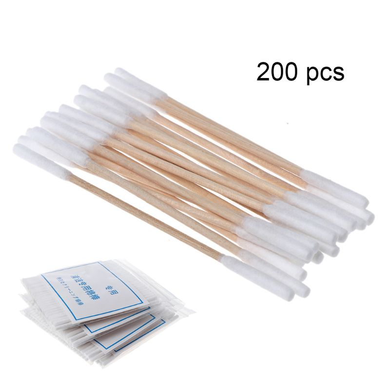 200Pcs/Box Wooden Cotton Swabs Double Head Cleaning Sticks For IQOS Heating Vape Clean Tools Accessories