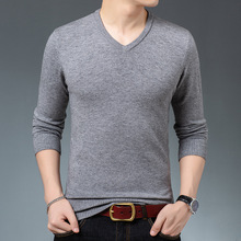 Jersey Sweater Knitted Pullover V-Neck-Collar Long-Sleeve Slim Male Men's Casual Fashion