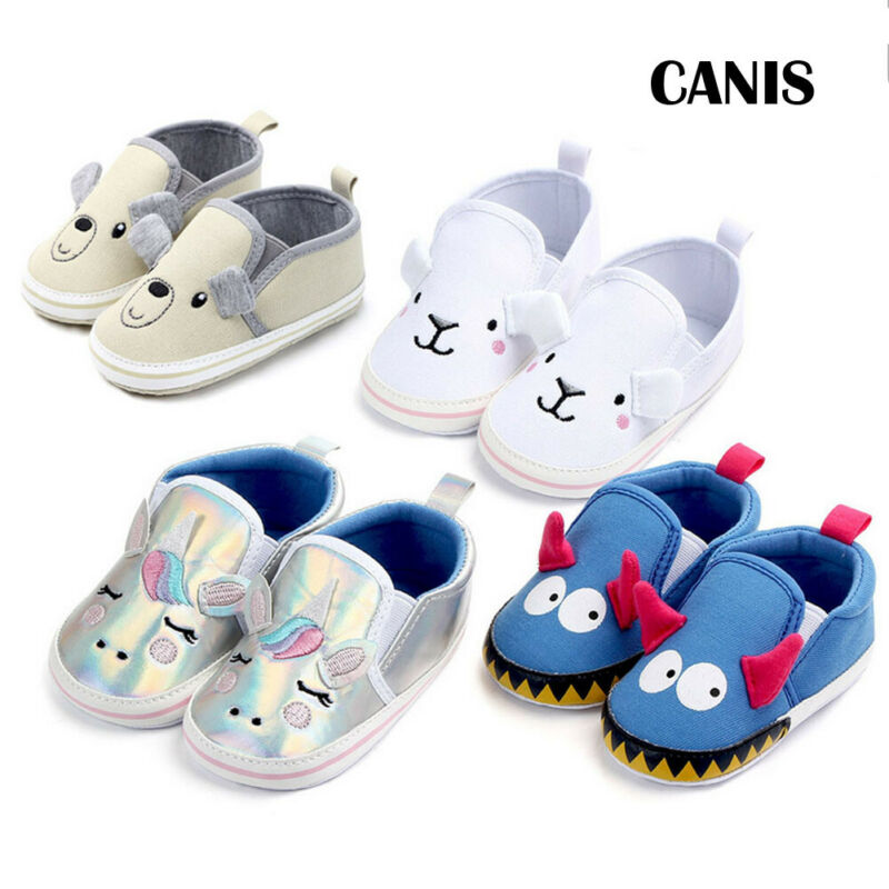 2019 Brand New Newborn Infant Baby Boys Girls Casual Canvas Crib Shoes Prewalker Soft Sole Sneakers Cartoon Unicorn Bear Shoes