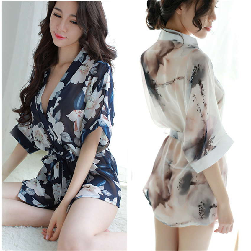 Japanese Style Kimono Dress For Woman Sexy Transparent Yukata Floral Printed Sleepwear Oriental Chiffon Nightgown Bathrobe