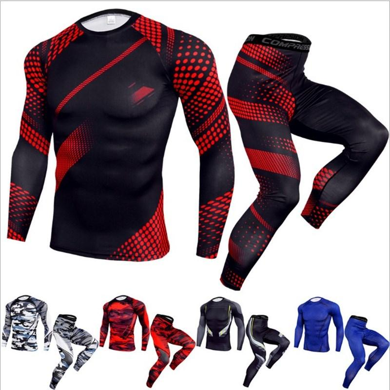 2020 Compression Set Men Joggers Sports Suits Quick Drying Tracksuit Skinny Tights Fitness Workout Sportswear Suit Clothing