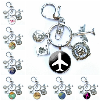 Tour around World Airplane Map Keychain Travel Discovery Discover Glass Dome Cabachon Airplane Map Charm Pendant Keychain Gift image