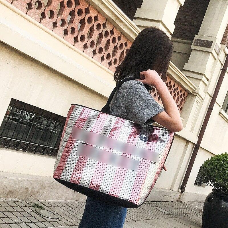 Hot 2019 Large Capacity Luxury Handbag Ladies Shoulder Bag Designer Sequins Beach Bag Bolsa Mujer Victoria Bag