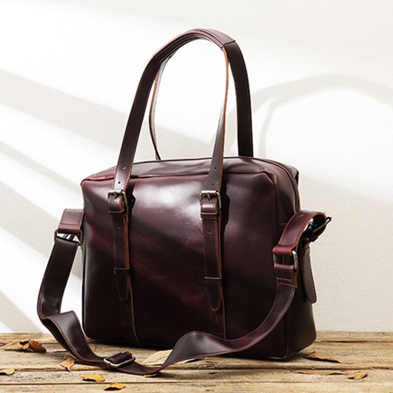 Leather Men's Bag Handbag Casual Men Retro Laptop Bag Briefcase Head Layer Leather Shoulder Messenger Bag Male Large Capacity