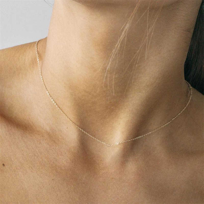 Collares simples de clavícula para mujer 100% collares con colgante de cadena de astillas de plata de ley de Color dorado