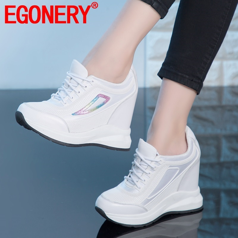 EGONERY Spring New Concise Casual Women Pumps Outside Super High Heels Platform Round Toe Women Shoes Drop Shipping Size 33-40