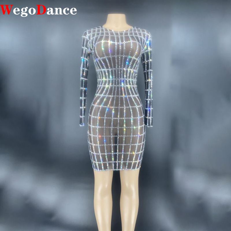 New Silver Rhinestones Transparent Mesh Dress Birthday Celebrate Bar Singer Long Sleeves Dance Short Bridal Dress