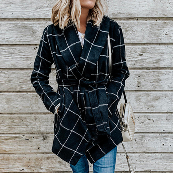 FY VANLAND Autumn Winter Women Medium Long Sleeve Woolen Coats Fashion Vintage Loose Plaid Belted Jackets Women's Windbreaker 1