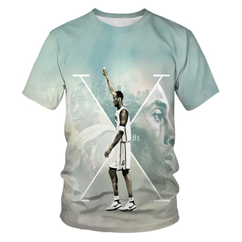 Fashion round neck sports t-shirt basketball star print short-sleeved mens casual clothing for me