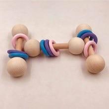 Baby DIY Wood Pendant Teethers Kids Molar Bite Rod Teething Stick Infants Hand R