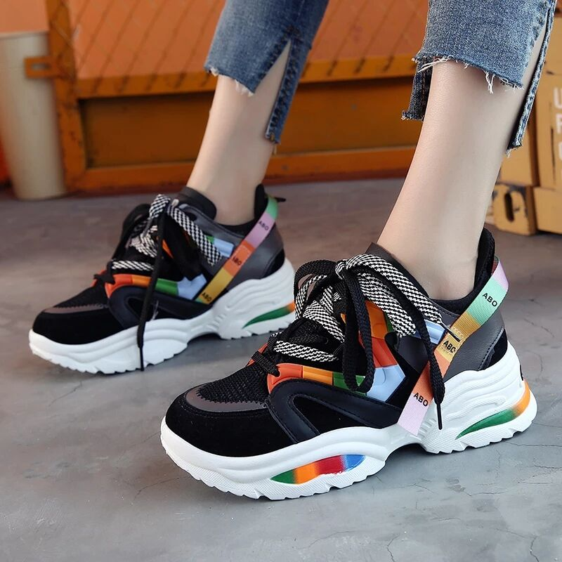 Harajuku Shoes 2020 Women Vulcanize Shoes Chunky Sneakers Walking Shoes Platform Sneakers Women Shoes Plus Size Tenis Feminino