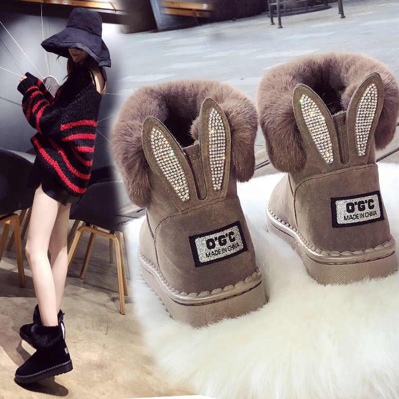 Femmes bottes en cuir véritable fourrure de renard marque chaussures d'hiver chaud noir bout rond décontracté strass lapin oreilles modélisation femme bottes de neige