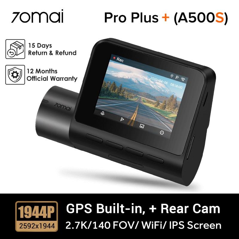70mai A500S (модернизированная версия A500) 70mai Dash Cam Pro Plus + 2,7 K видеорегистратор с поддержкой задней камеры RC06