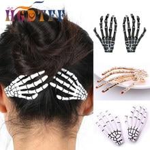 1 pçs halloween traje para as mulheres acessórios de cabelo esqueleto garras crânio mão grampo de cabelo pinos barrette halloween decoração