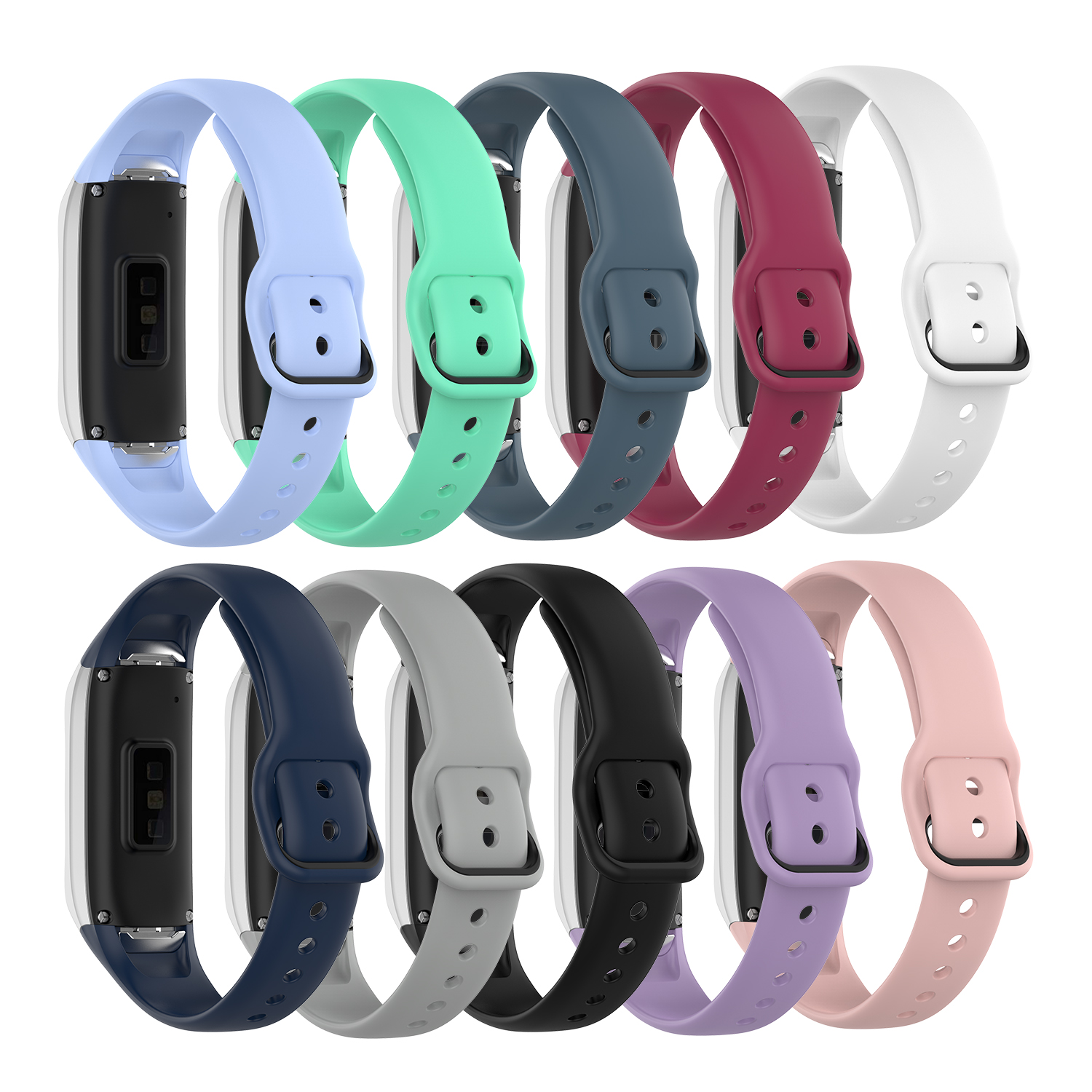 Suitable For Samsung Galaxy Fit SM-R370 Silicone Black Buckle Watchband Steel Shrapnel