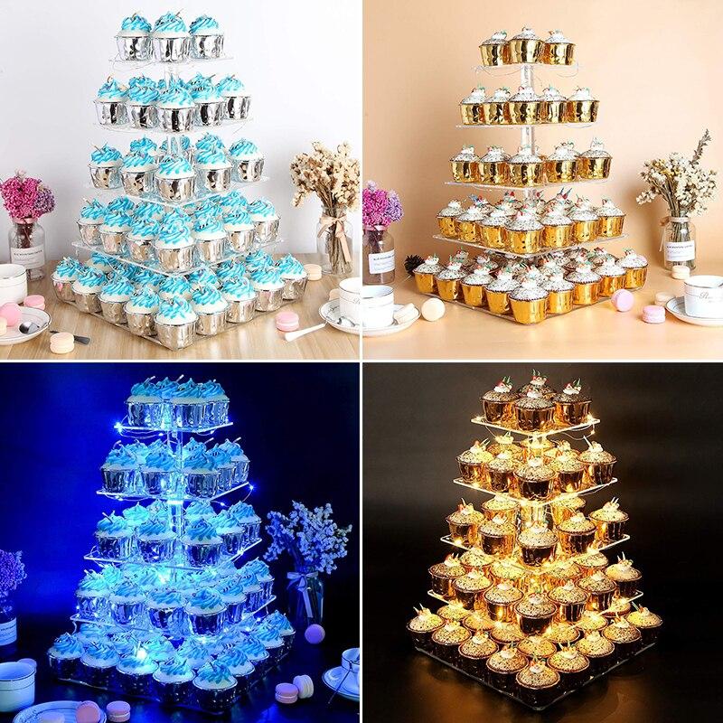 5-tiers praça luzes led bolo cupcakes suporte