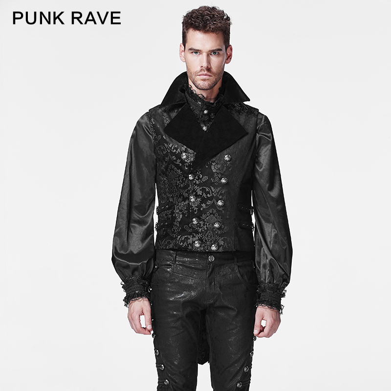 PUNK RAVE Gothic Cotton Man Waistcoat Corduroy Crack Imitation Leather Retro Royal Dark Printing Vest Party Party Tank Tops Tees