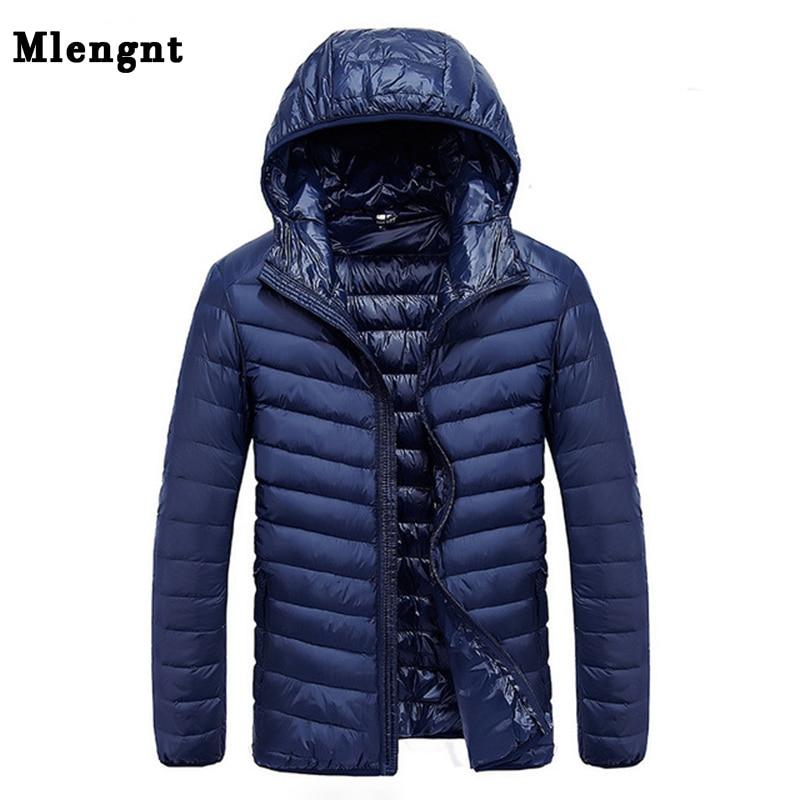 2019 Autumn Men's Ultralight White Duck Down Hooded Jacket Male Windproof Waterproof Parkas Coats Ultra Light Stand Collar XCZ34