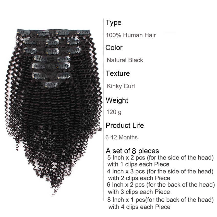 3B 3C rizado Clip en extensiones de cabello humano brasileño Clip-Clip Ins cabeza completa 8 unids/set 120G Remy pelo Mi Lisa Natural Color
