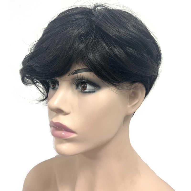6 Inch Pixie Cut Straight Korte Bob Pruiken Voor Zwarte Vrouwen Met Bang Natuurlijke Rechte Braziliaanse Remy 100% Human Hair volledige Machine