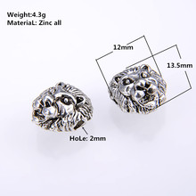 10PCS/ packsge NEW Gold Silver Color Leo Lion Head Beads Spacer skull Charms for European Bracelets DIY Jewelry Making Wholesale