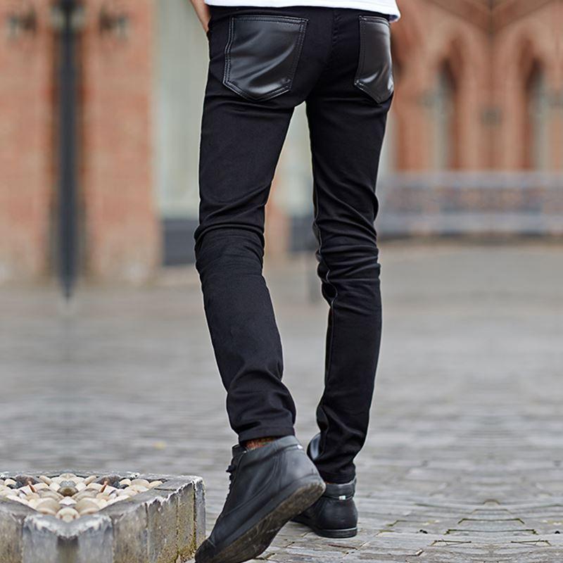 Men Leather Pants Korea Slim Fit Casual Men \'s Leather