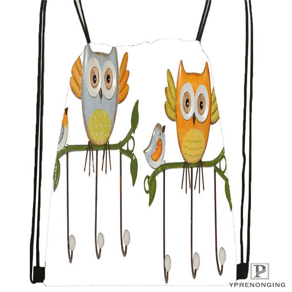 CustomCartoon Owl  Drawstring Backpack Bag Cute Daypack Kids Satchel (Black Back) 31x40cm#2018612-01-26