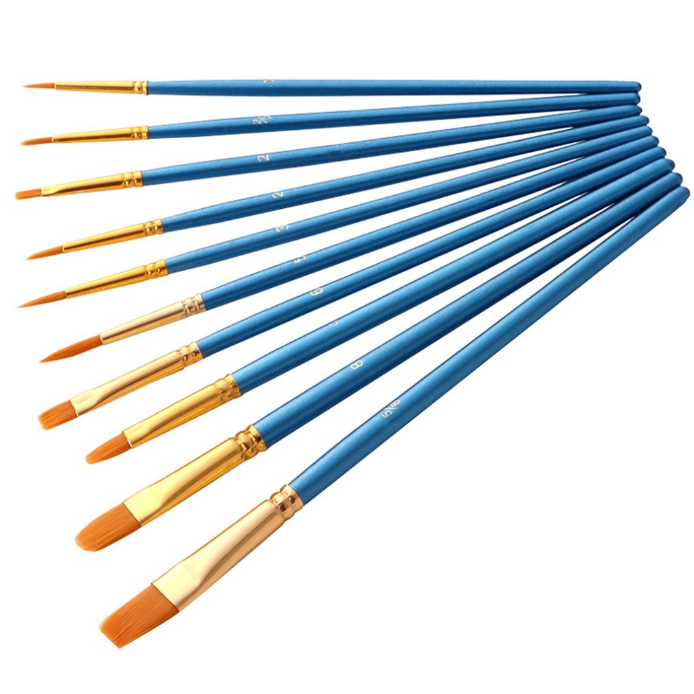 Художественная нейлоновая кисть для рисования профессиональная Акварельная акриловая деревянная ручка кисти для рисования художественные канцелярские принадлежности 10 шт. 2